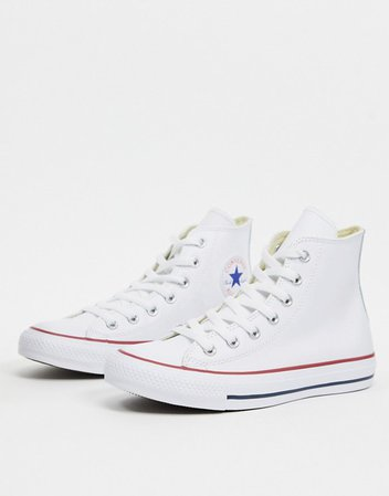 Converse Chuck Taylor All Star Hi White Leather Sneakers | ASOS