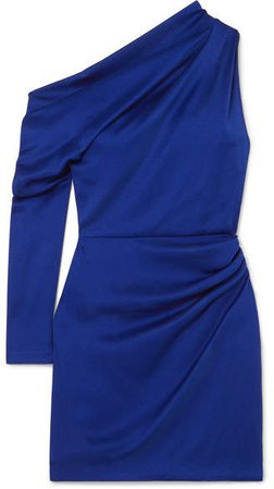 Asymmetric Hammered-satin Mini Dress - Indigo
