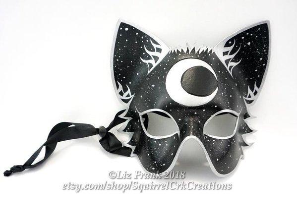 Cat Mask Leather Half Mystic Moon Feline Animal mask Mardi | Etsy