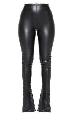 Stone Faux Leather Kick Flare Leggings | PrettyLittleThing USA