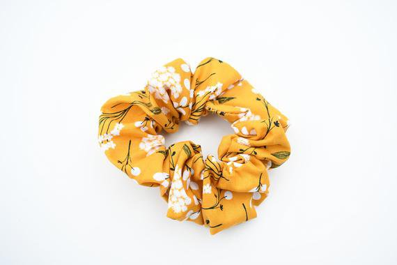 Yellow Floral Hair Scrunchie Floral Flowers Hair Accessory | Etsy