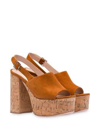 Miu Miu Slingback 125Mm Wedge Sandals 5XP846F125LRG Brown | Farfetch
