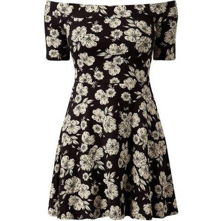 black floral skater dress