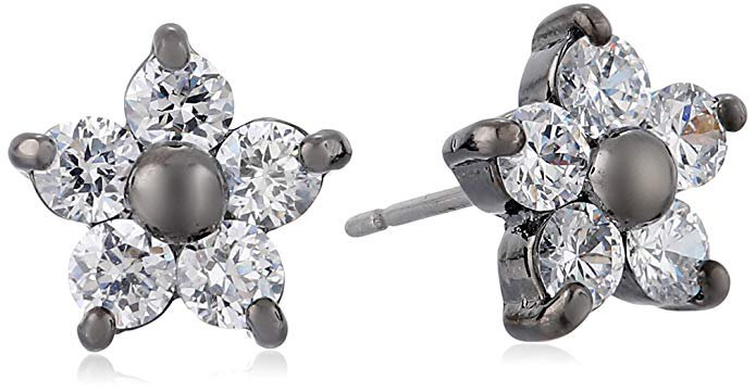 Betsey Johnson Crystal and Hematite-Color Star Flower Stud Earrings: Clothing