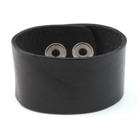 """Leather & Faux Leather Stampable Leather Cuff Bracelet 1 1/4"""" Black"""