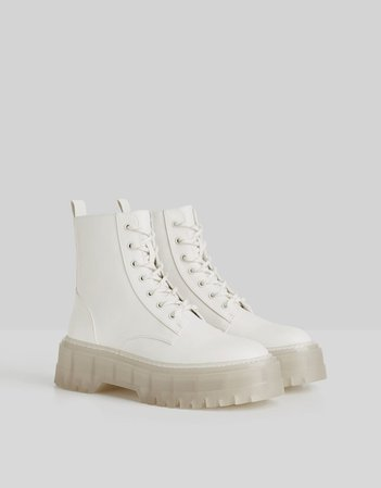 Platform ankle boots with track sole - Shoes - Woman | Bershka