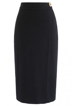 Buttoned Front Knit Midi Skirt in Navy - Skirt - BOTTOMS - Retro, Indie and Unique Fashion