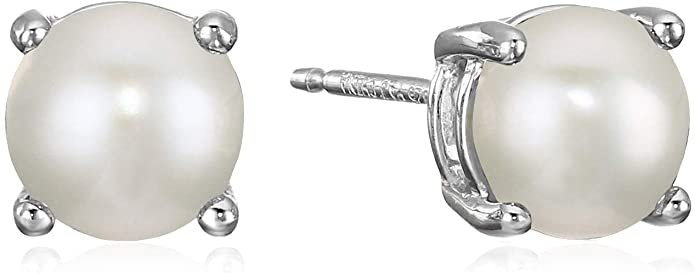 Amazon Essentials Sterling Silver Round Freshwater Cultured Pearl Birthstone Stud Earrings (June): Jewelry