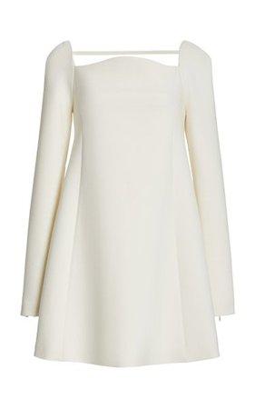Curved Neckline Double Wool Mini Dress By Carolina Herrera | Moda Operandi