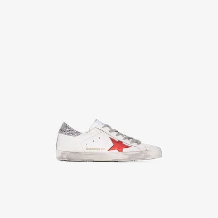 White Superstar Glitter Leather Sneakers