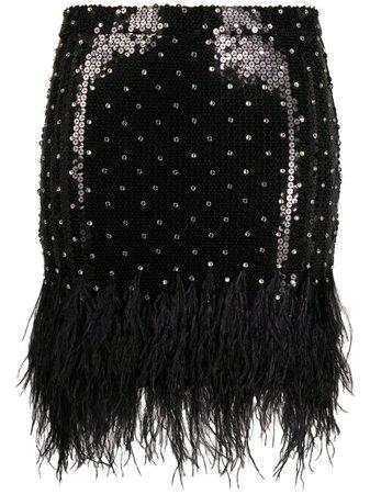 Amen feather-trimmed Sequin Mini Skirt - Farfetch