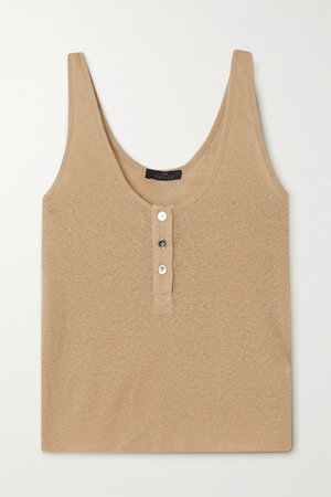 Shadow Ribbed Jersey Tank - Beige