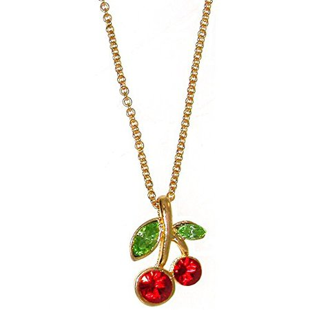 Amazon.com: Nickel Free Cherry Necklace with Swarovski Crystals, in Red with Gold Tone Finish: Pendant Necklaces: Jewelry