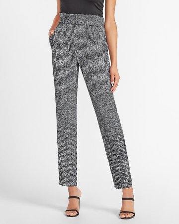 High Waisted Black & White Belted Ankle Pant
