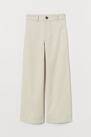 High Waist Twill Pants - Light beige - Ladies | H&M US