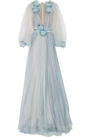Marchesa Light Blue Tulle Gown