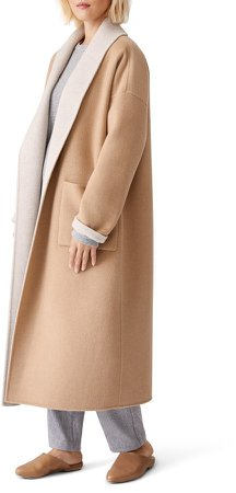 Open Shawl Collar Coat