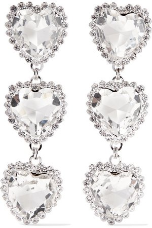 Alessandra Rich | Silver-tone crystal clip earrings | NET-A-PORTER.COM