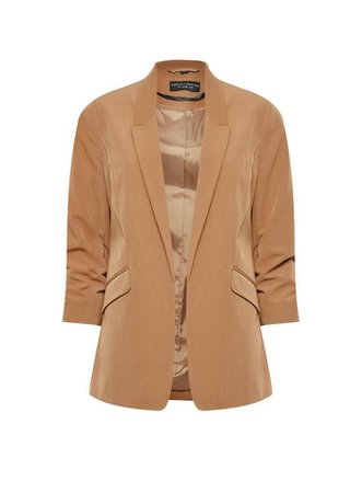Camel Rucked Sleeve Jacket | Dorothy Perkins