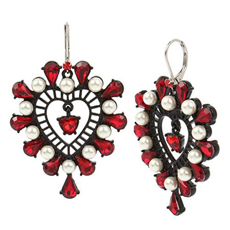 Betsey Johnson Openwork Heart Drop Earrings, Red, One Size: Clothing