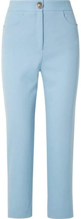 Wool-twill Straight-leg Pants - Sky blue