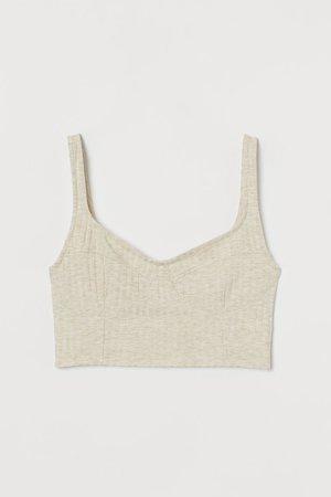 Ribbed Tank Top - Light beige melange - Ladies   H&M US