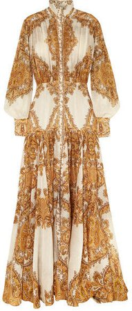 Zippy Printed Silk Maxi Dress - Gold