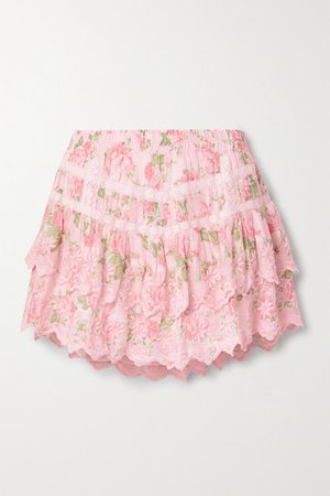 Emilia Tiered Embroidered Floral-print Cotton-voile Mini Skirt - Pink