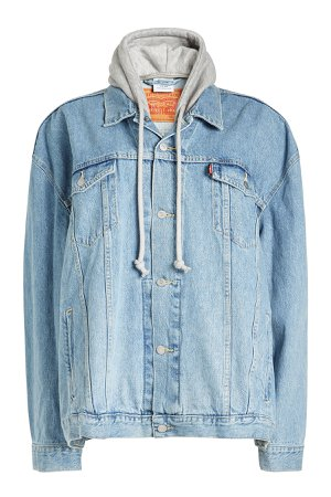 Oversized Denim Jacket with Jersey Hood Gr. S
