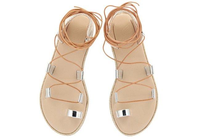 Esmeralda Mirror Silver Sandals by Ancient-Greek-Sandals.com