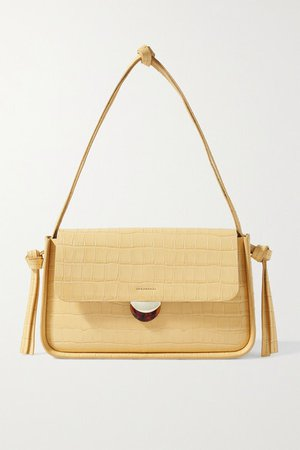 Maggie Croc-effect Patent-leather Shoulder Bag - Pastel yellow