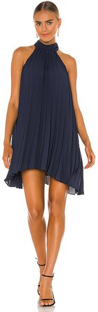Smocked Neck Pleated Mini Dress