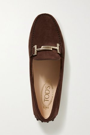 Dark brown Gommino suede loafers | Tod's | NET-A-PORTER