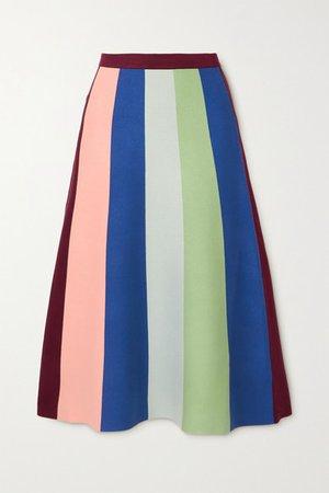 Striped Knitted Midi Skirt - Blue