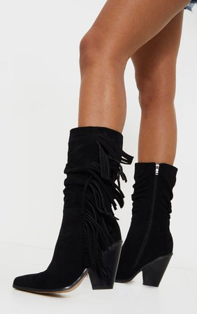 Black Fringe Western Heel Ankle Boots | Shoes | PrettyLittleThing
