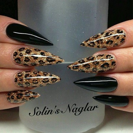 Black and leopard print with gold glitter stiletto nails