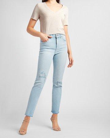 High Waisted Ripped Raw Hem Slim Jeans