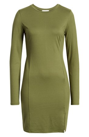 Leith Easy Fit Long Sleeve Minidress | Nordstrom