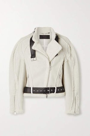Peter Do - Car Seat Leather-trimmed Shearling Biker Jacket - Cream