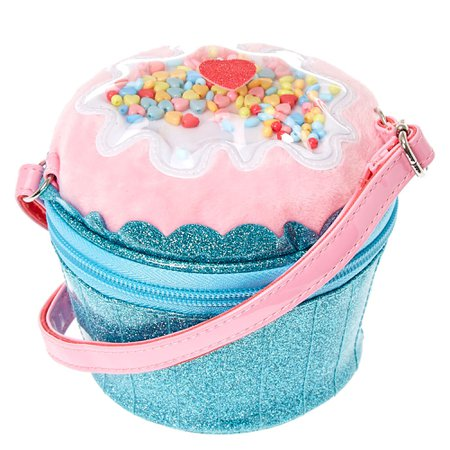 Claire's Club Glitter Cupcake Crossbody Bag - Blue | Claire's