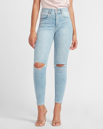 High Waisted Denim Perfect Ripped Skinny Jeans
