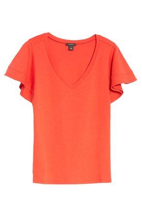 Halogen® Flutter Sleeve T-Shirt | Nordstrom
