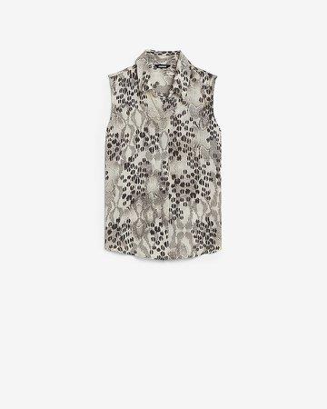 Animal Print Sleeveless Button Front Shirt