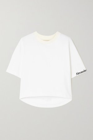 Cropped Embroidered Cotton-jersey T-shirt - White
