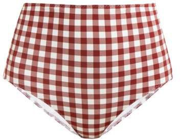 Belize High Waisted Gingham Print Bikini Briefs - Womens - Red White