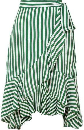 Tramonti Ruffled Striped Crepe De Chine Wrap Skirt - Green