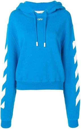 stripe sleeve drawstring hoodie