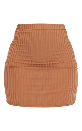 *clipped by @luci-her* Camel Rib Mini Skirt | Skirts | PrettyLittleThing USA