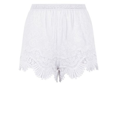 Cameo Rose White Lace Crochet Trim Shorts   New Look