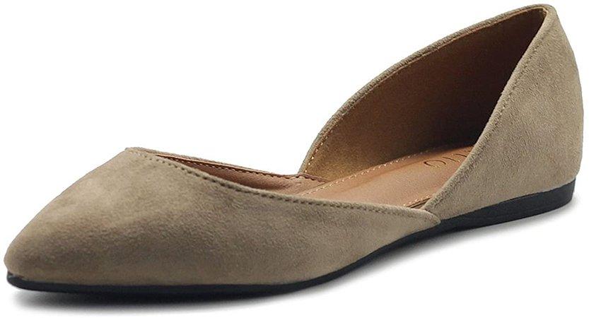 Amazon.com   Ollio Women's Shoes Faux Suede Slip On Comfort Light Pointed Toe Ballet Flat ZM1710F (6 B(M) US, Beige)   Flats